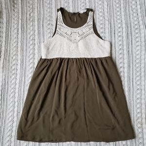 💕💕ENTRO army green crochet top sundress C2